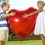 赤一色 特大 ハート型風船 バルーン 75cm アルミ風船 赤10枚 各種イベント お祝いに  簡単便利な空気入れ オリジナルメッセージカード付き