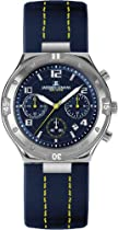 Stainless Steel Dover Blue Dial Leather Strap Chronograph Midsize