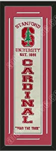 Heritage Banner Of Stanford Cardinal With Team Color Double Matting-Framed Awesome... by Art and More, Davenport, IA