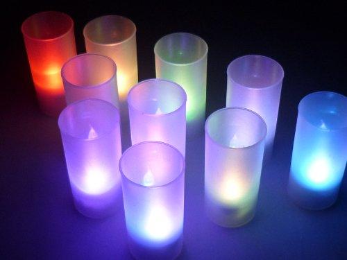 七変化! LED キャンドル ライト 10個セット 七色に変化し息を吹掛け消えちゃう パーティー 記念日 クリスマス HB320
