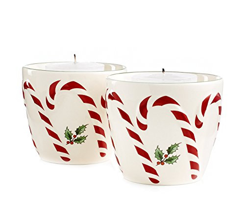 Spode Serveware Peppermint Embossed Candy Votives with Tealights - Set of 2