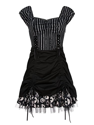 The Nightmare Before Christmas Pinstripe Dress Abito nero/bianco XS