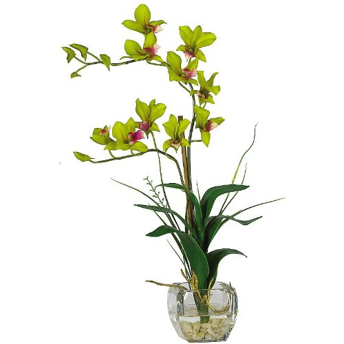 Dendrobium w/Glass Vase Silk Flower Arrangement – Green