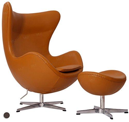 Attirant MLF Reproduction Arne Jacobsen Egg Chair U0026 Ottoman In Top Light Brown  Italian Leather
