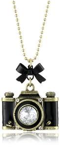 """Betsey Johnson """"Royal Engagement"""" Large Camera Long Pendant Necklace"""