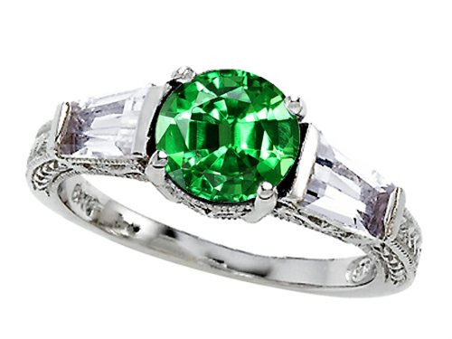 Star K Round 7Mm Simulated Emerald Engagement Ring Size 5