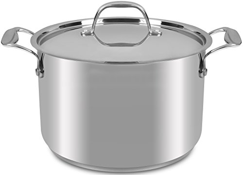6 Quart - Premium Quality Stainless Steel - Stockpot - with Cover - 24 x 15 cm - Multipurpose Use for Home Kitchen or Restaurant - Chef's Choice - by Utopia Kitchen