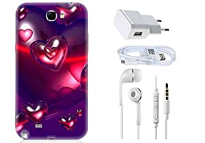Spygen Samsung Galaxy Note 2 Combo of Premium Quality Designer Printed 3D Lightweight Slim Matte Finish Hard Case Back Cover + Charger Adapter + High Speed Data Cable + Premium Quality Handfree