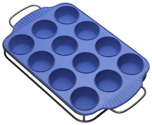 Roshco Silicone 12-Count Muffin Pan with Sled, Blue - Buy Roshco Silicone 12-Count Muffin Pan with Sled, Blue - Purchase Roshco Silicone 12-Count Muffin Pan with Sled, Blue (Lifetime Brands, Home & Garden, Categories, Kitchen & Dining, Cookware & Baking, Baking, Muffin & Popover Pans)