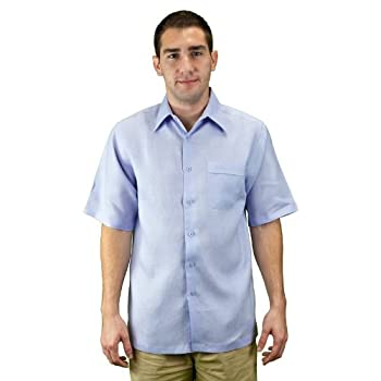 Mens clothes short sleeve linen shirt lavander