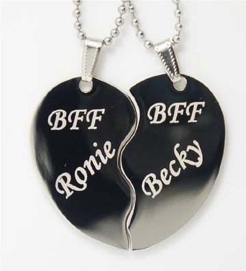 Bff Best Friend Forever Split Heart Special Engraved Necklace Pendant Dog Tag W/Chain And Gift Pouch