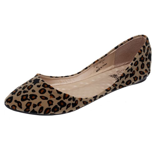 Alexis Leroy Women's Sexy Leopard Design Low Top Ballet Flats Shoes (40 M EU / 8.5-9 B(M) US, apricot)