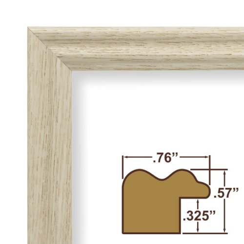 "23x29 Custom Picture Frame / Poster Frame .75"" Wide Complete Whitewash Wood Frame (200ASHWW)"