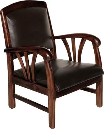 Nomades Design  500267 Fauteuil Teck/Cuir 60 x 60 x 82 cm
