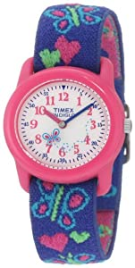 Timex Kids' T89001 Analog Hearts and Butterflies Elastic Fabric Strap Watch