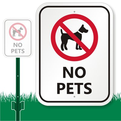 "No Pets (With Graphic) Sign, 12"" X 9"" front-95568"