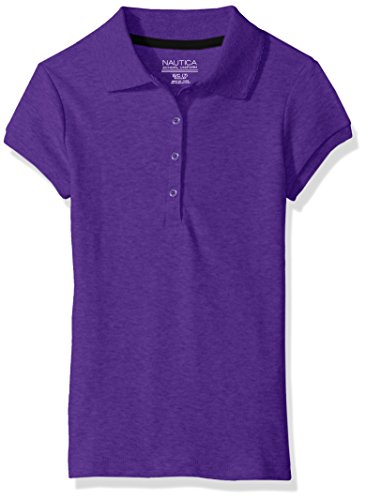 Nautica girls 39 uniform short sleeve polo with picot stitch for Purple polo uniform shirts