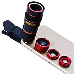 Apexel 4 in 1 Camera Lens 8x Telescope Lens/ Red Fisheye/ Wide Angle + Macro Lens with Universal Clip for iPhone iPad Samsung Galaxy Sony LG Motorola HTC