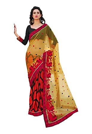 Fabdeal Women Net Embroidered Saree with Blouse Piece available at Amazon for Rs.2099