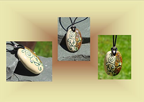 abstract-necklace-ceramic-pendant-cream-moss-pottery-silver-focal-bead-stoneware-jewelry
