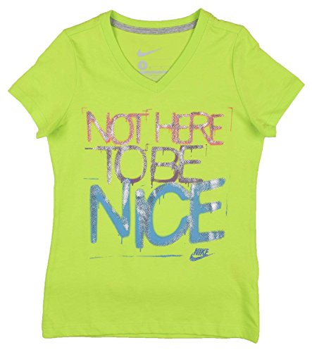 Nike Girls' (8-20) Not Here To Be Nice V-Neck T-Shirt-Bright Lime-Small