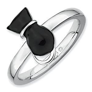 Sterling Silver Stackable Expressions Polished Black Enameled Cat Ring Size 8