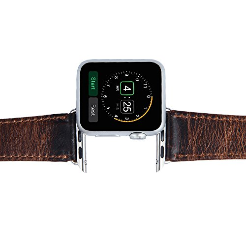 V-Moro Apple Watch leather Band, 42mm Genuine Leather iWatch Strap Vintage Crazy Horse Replacement Smart Watch wristband for for Apple Watch iWatch All Models (Vintage Crazy Horse-Coffee 42mm) 2