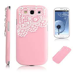 Pandamimi Deluxe Pink Hard Back Cover with White Lace for Samsung Galaxy S-iii S3 I9300 (At & T T Mobile Sprint Verizon U.s.cellular) with Screen Protector