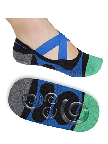 Lupo Women's Heel N Toe Yoga Barre Pilates Grip Socks, Large Blue Black