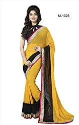 Sk Creation Fabulous Yellow Lace Embroidered Party Wear Saree