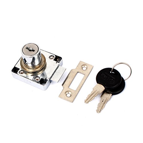 uxcell® Drawer Cupboard Metal Deadbolt Square Locking Lock with 2 Keys - 1