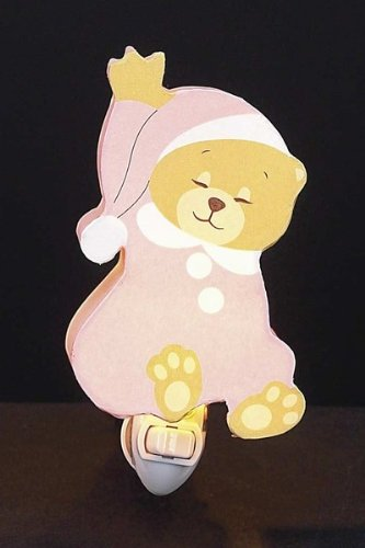 Children's Quality Designed Pink Sleeping Bear Room Night Light - 1