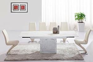 Table De Salle Manger Extensible Zeus Marbre Blanc Gris Et 6 Chaises Z Cuisine