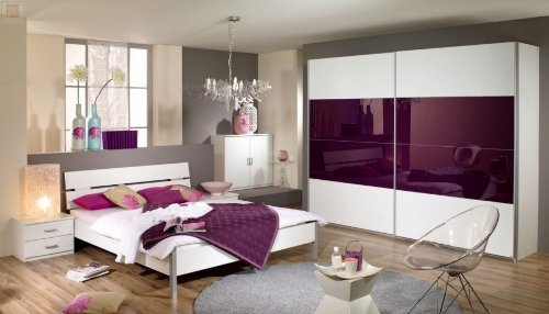 Schlafzimmer Bett 180 x 200 cm alpinweiss/ Glas brombeer bestellen