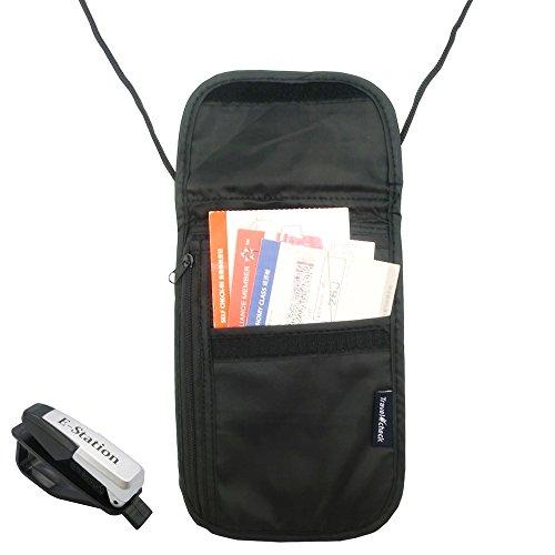 Neck Stash Belt Pouch, Passport Holder RFID Safety , Hidden Travel Wallet , Travel Zipper Pockets for Passports, Documents, Credit Cards & Cash + E-Station Car Glasses Visor Ticket Clip Holder (Black)