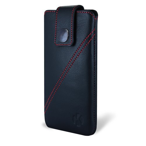 Best Price iPhone 5 Case - Kouros Strap - Genuine Italian Leather Case - Pouch Cover (Black)
