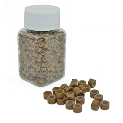 E-TING® 1000 PCS 5mm Light Brown Color Silicone Lined Micro Rings Links Beads Linkies for I Bonded Tipped Hair Extensions