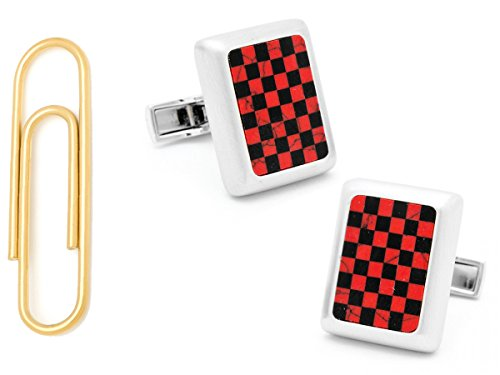 Red Jasper And Onyx Checker Jfk Presidential Cufflinks With Gold Stainless Steel Paper Clip Money Clip