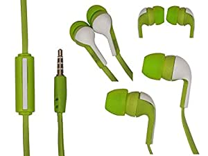 Green Stylabs 3.5mm In Ear bud Stereo Earphones Mini Size HeadSet Headphone with Mic For Xolo Omega 5.0 (For 5 Inch)