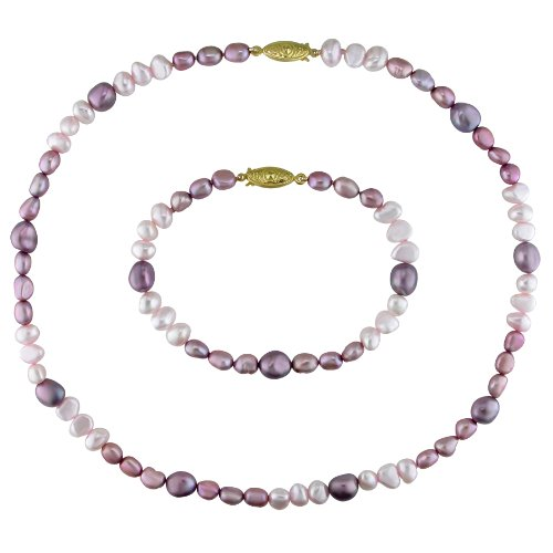 Set of FW Multi-Colored Pearl Necklace and Bracelet with Gold Plated Metal Clasp