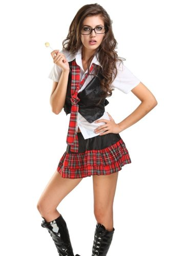 Ensasa School Girl Uniform Costume One Size Red