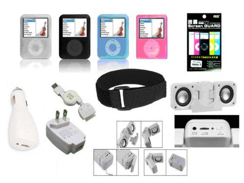 Cuffu Ipod Nano 3 Bundle Deal/4 X Silicone Skin/full Charging Kit/speaker/armband/screen Guard