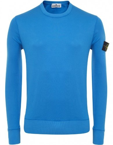 Stone Island Men's Sweater Blue Crew Neck Sweatshirt L
