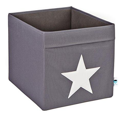 STOREIT-753689-groe-Ordnungsbox-offen-Aufbewahrungsbox-passend-fr-Kallax-Expedit-Polyester-38-x-32-x-32-cm-grau-mit-weiem-Stern
