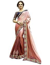 SheKnows Light Brown & Pink Georgette Saree Saree