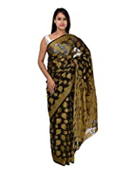 A1 Fashion Women Brasso & Net Black Saree With Blouse Piece - B00VUS2S10