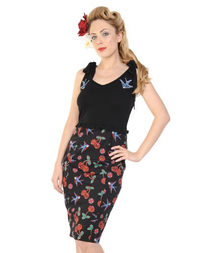 Banned Cherries & Swallows Pencil Dress S - UK 8 / EU 36