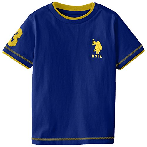 U.S. Polo Association Little Boys' Double Crew Jersey T-Shirt (5/6, Cobalt With Yellow)