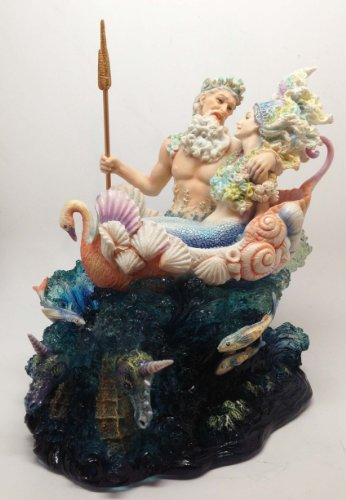 Josephine Wall Neptune Mermaid Wedding Statue Ariel and Poseidon Sea Party Figurine