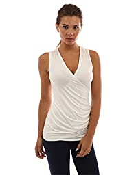 PattyBoutik Women\'s V Neck Ruched Side Tank Top (Ivory S)
